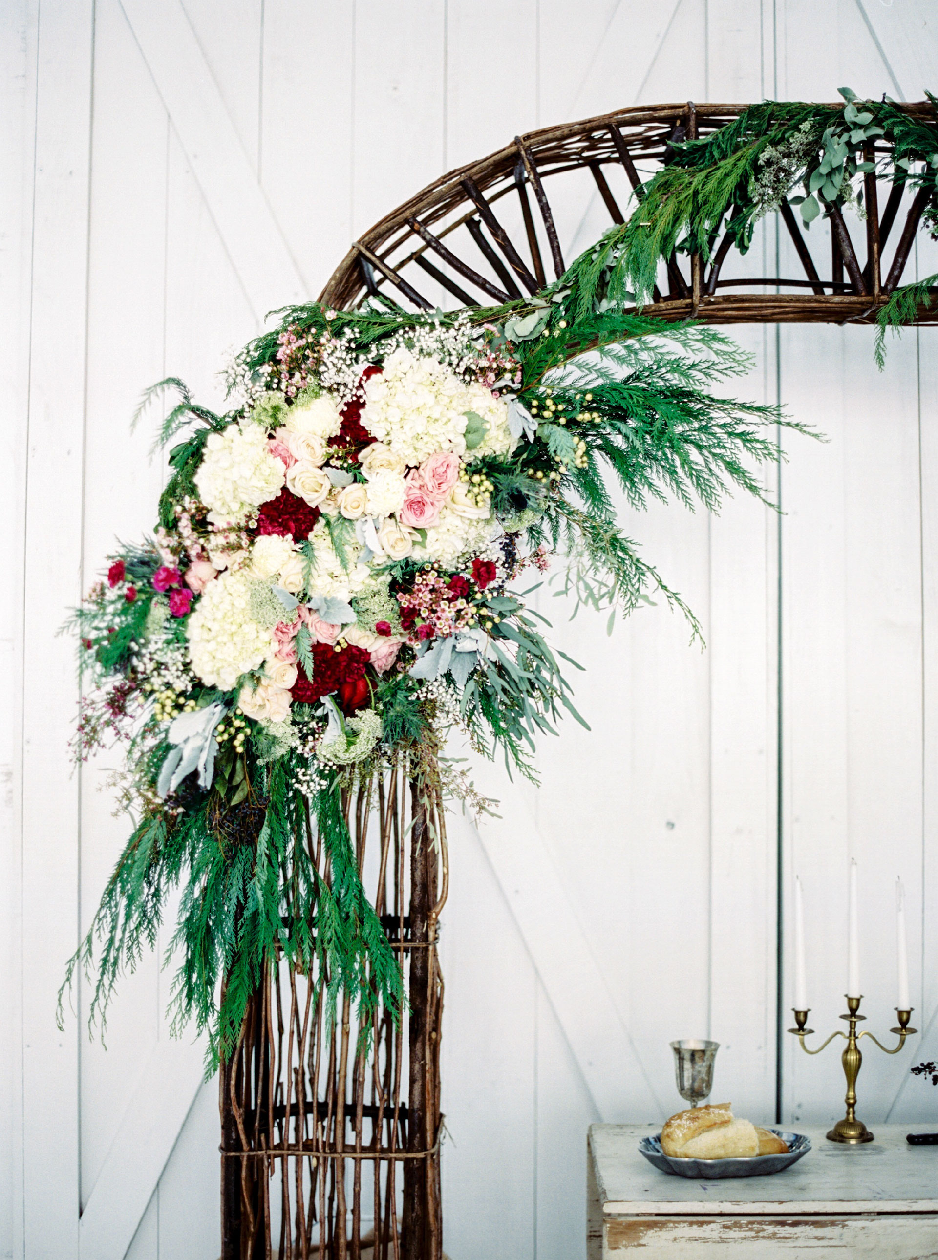 Wedding Floral Arrangement, white, red, & pink flowers.